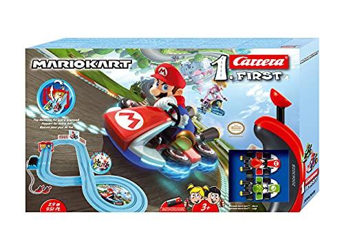 Carrera 20063028 FIRST Nintendo Mario Kart Rennstrecken-Set I 2,9m elektrische Rennbahn mit Streckenteilen und...