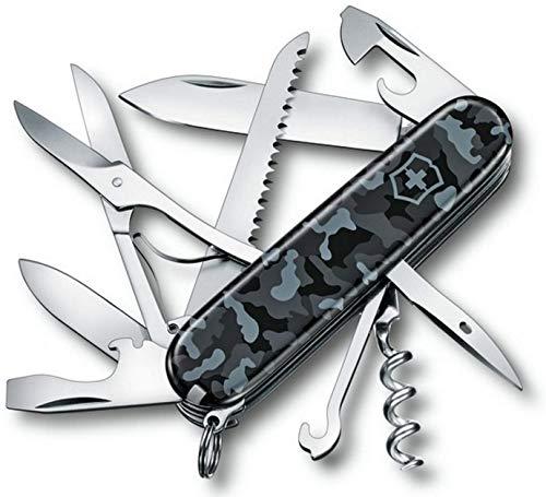 Victorinox Huntsman Taschenmesser, 15 Funktionen, Schere, Holzsäge, Korkenzieher, navy camouflage