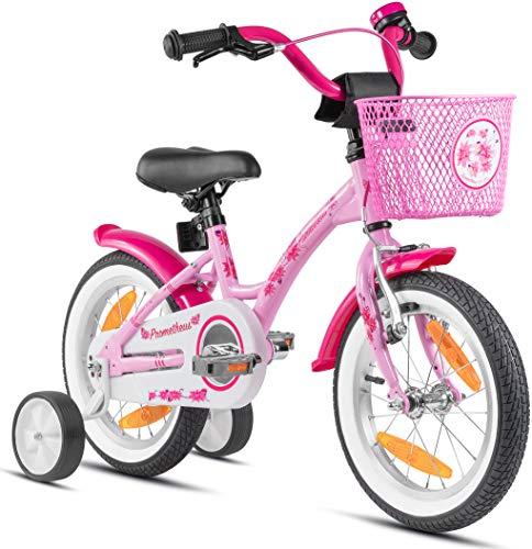 Prometheus Mädchenfahrrad 14 Zoll mit Stützräder Kinderfahrrad ab 3-4 Jahre Mädchen Rücktritt 14zoll...