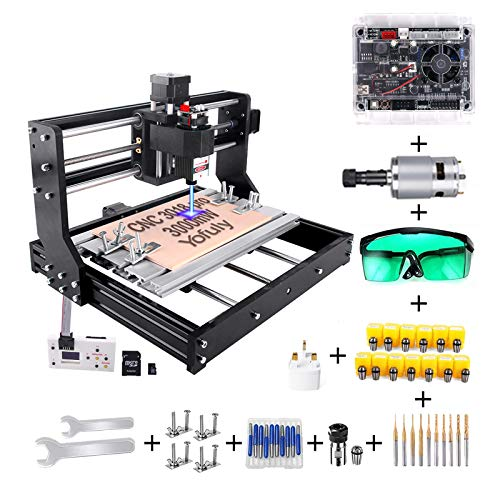 ofuly CNC 3018 Pro 3000 mW Gravierfräsmaschine, 2-in-1 Upgrade Version GRBL Control DIY Mini CNC-Maschine, 3...