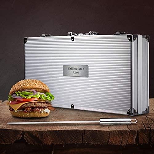 Smyla Personalisierter Grillkoffer mit Gravur | Premium Grillbesteck aus Edelstahl mit Wunsch-Namen |...