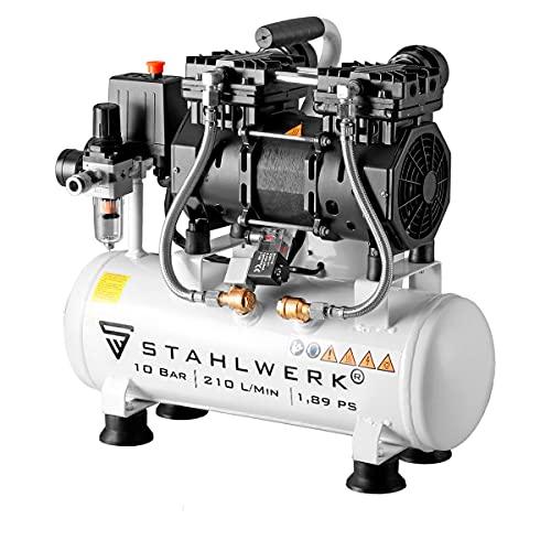 STAHLWERK Kompressor Druckluft Flüsterkompressor ST 110 pro - 10L Stahlkessel, 10 Bar, ölfrei, 210 L/Min,...
