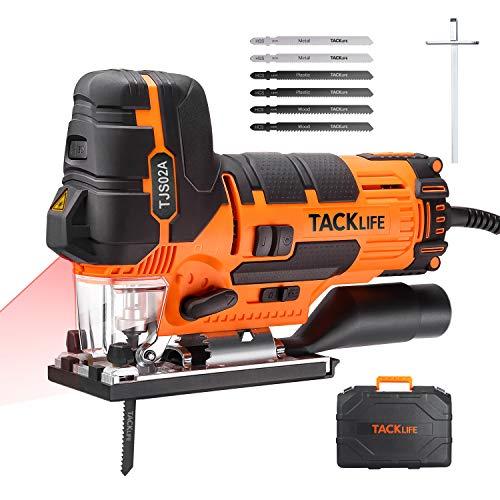 TACKLIFE 800W Professional Stichsäge, Pendelhubstichsäge mit LED und Laserführung, ±45° Gehrungsschnitt,...