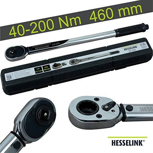 Hesselink DS-200 Drehmomentschlüssel 40-200 Nm I ideal für den Reifenwechsel/Räderwechsel am Auto I mit...