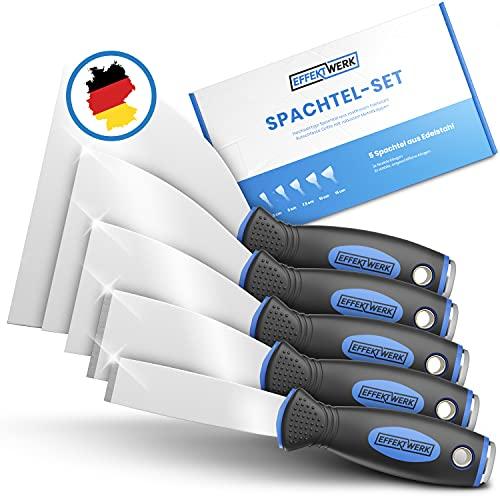 EFFEKTWERK Profi Spachtel Set - 5tlg Spachtel aus rostfreiem Edelstahl - 2x stabil zum Tapeten entfernen mit...