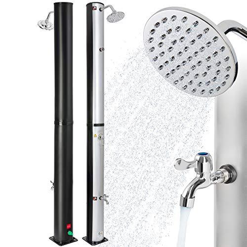 Arebos Solardusche | 37 Liter | 199 cm | mit integriertem Thermometer | Silber-Schwarz | runder Duschkopf |...