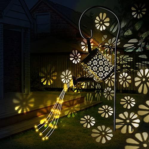 Wenosda Solar Giesskanne Garten LED Lichter Outdoor Dekoration, Star Shower Gießkanne Solar Lampe mit...