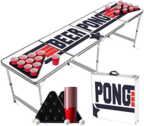 Offizieller Top Gun Beer Pong Tisch Set | Full Beer Pong Pack | 1 Beer Pong Tisch + 2 Beer Pong Rack + 22 Rot...