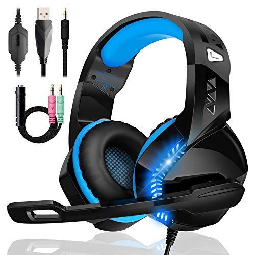 Gaming Headset für PS4 PS5 PC Xbox One mit Mikrofon Geräuschunterdrückung Stereo Surround Sound...