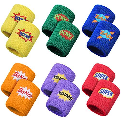 Gejoy 24 Stück Kinder Sport Armbänder Bunte Handgelenk Schweißbänder Baumwolle Frottee Armbänder mit Pow...