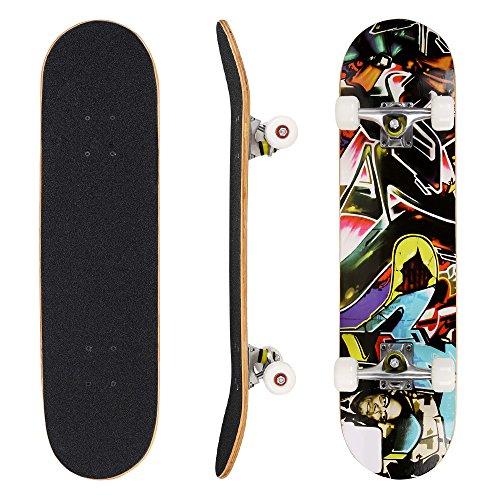 WeSkate Skateboard Komplett Board 79x20cm Holzboard ABEC-7 Kugellager 31 Zoll 7-lagigem Ahornholz, 90A Rollen...