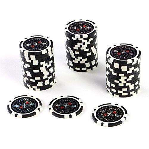 50 Poker-Chips Laser-Chips Metallkern 12g Poker Texas Hold`em Black Jack Roulette reflektierend Tokens Jetons...