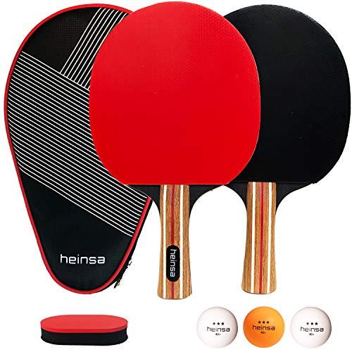 heinsa Premium Tischtennis Set, Tischtennisschlaeger Set - 2 Tischtennisschläger Set Profi mit...