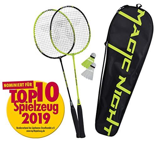 Talbot Torro Badminton-Set Magic Night, 2 Schläger, 2 LED Federbälle für das Spiel bei Nacht, in wertiger...