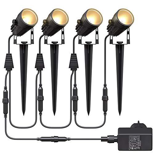 Aogled Gartenbeleuchtung LED,4x3W COB im Freien IP65 Wasserdichter Gartenleuchte, Warmweiß 3000K...