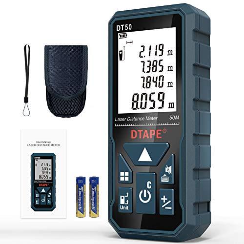 Entfernungsmesser, DTAPE DT50 50M Digitales Laser Entfernungsmesse mit LCD Hintergrundbeleuchtung M/In/Ft mit...