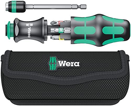 Wera 05051016001 Kraftform Kompakt 20 Tool Finder 1, mit Tasche, 7-teilig, Schwarz Grün, One size