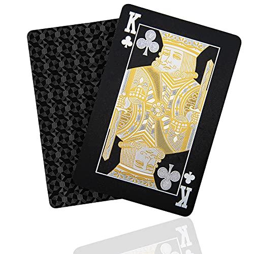SENOPEKOO Deluxe Schwarze Spielkarten Playing Cards, Wasserdichtes Pokerkarten mit Glänzenden Rautenmustern...