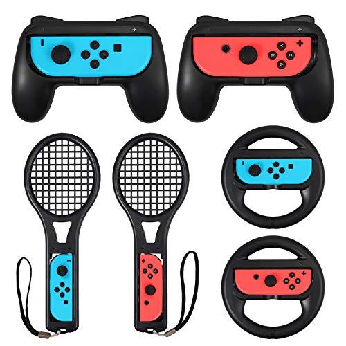 Tennisschläger Grips für Switch Joy-Controller Kit Zubehör mit 2 Controller Gehäuse 2 Tennisschläger 2...