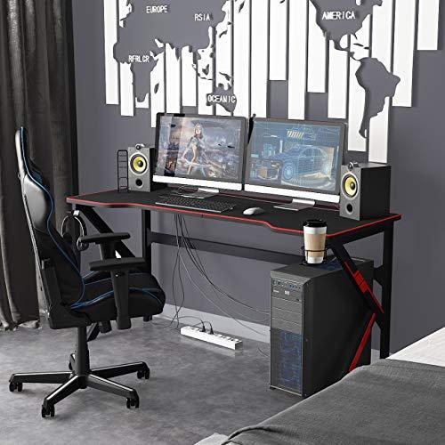 sogesfurniture Gaming Tisch 160 x 60cm Schreibtisch Großer Computertisch Arbeitstisch mit Mausunterlage,...