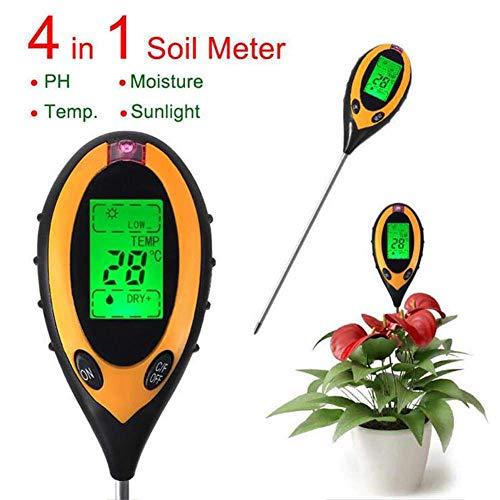 Boden-Tester, 4-in-1 Bodentester, Feuchtigkeitsmessgerät, pH-Wert, Temperatur, Sonnenlicht, Lux...