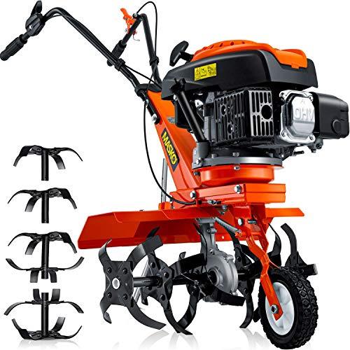 MASKO® Benzin Gartenfräse MK-909 Motorhacke 4,5 kW(6,1PS) 173ccm Ackerfräse mit 36-60cmArbeitsbreite - 4...