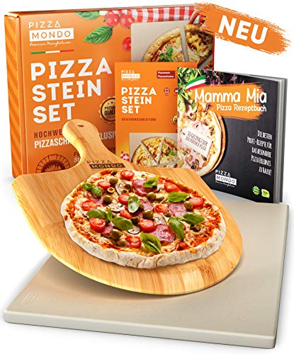 Pizza Mondo® Pizzastein für Backofen, Grill & Gasgrill (inkl. Pizzaheber & Rezeptbuch) Original Pizza...