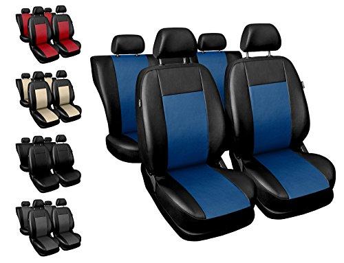 Carpendo Sitzbezüge Auto Set Autositzbezüge Schonbezüge Schwarz-Blau Vordersitze und Rücksitze - Airbag...