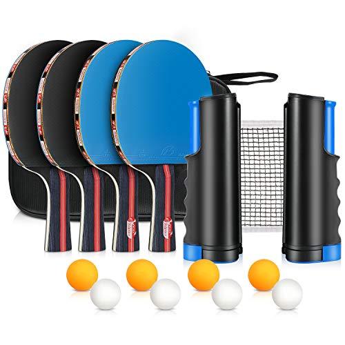 XDDIAS Tischtennis Set, 4 Sport Tischtennisschlaeger/Schlägern+ 8 Tischtennisbällen+Verstellbare Netz -...