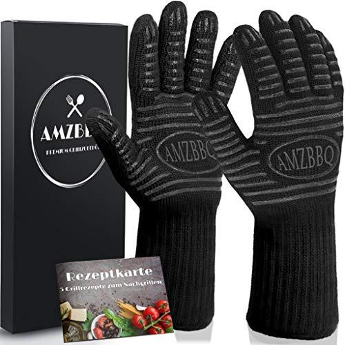 AMZBBQ® Premium Grillhandschuhe, Hitzebeständige Backhandschuhe bis 500 Grad, Extra Lange Ofenhandschuhe,...