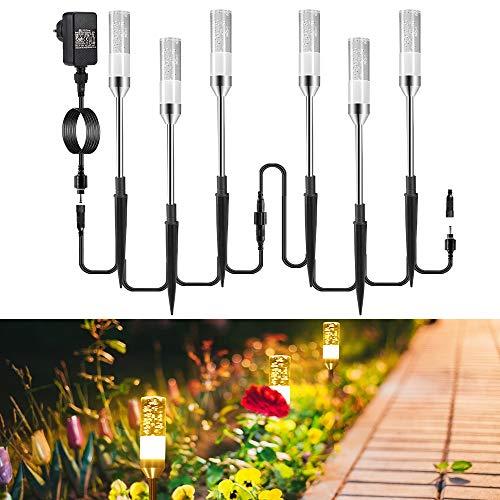 Gartenbeleuchtung ECOWHO 6er Gartenleuchte mit Erdspieß IP65 Wasserdicht Gartenstrahler, LED Wegbeleuchtung...