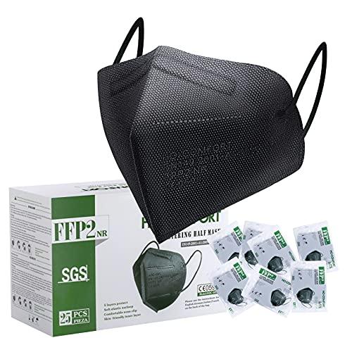 FFP2 Maske CE Zertifiziert Schwarz - 25 Stück Maske - Premium hygienische Einzelnverpackung Atemschutzmaske 5...