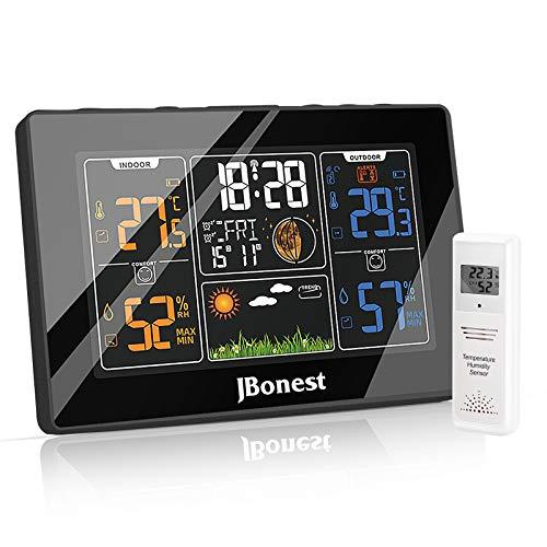 Wetterstation Funk mit Außensensor und Funkuhr Digitales Farbdisplay DCF-Funkuhr Thermometer-Hygrometer für...