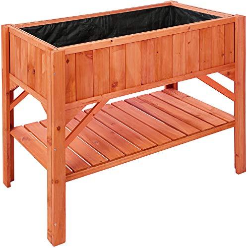TecTake 403232 Hochbeet aus Holz mit Ablagefach, für Garten, Balkon und Terrasse, Innenleben zum Schutz mit...