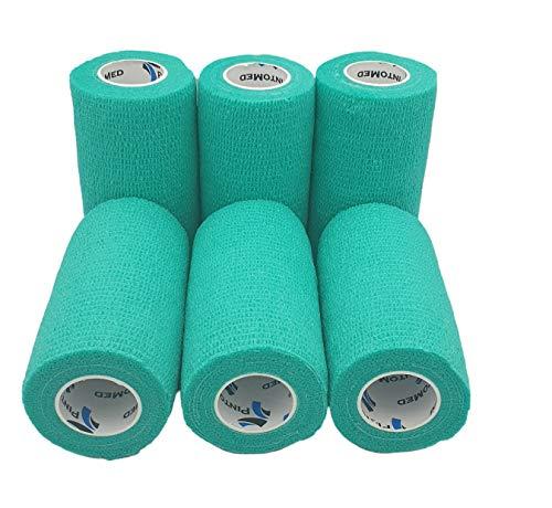 Kohäsive Bandage gedehnt 10 cm x 4,5 m selbsthaftende flexible Bandagen Profi-Qualität 6 Stück