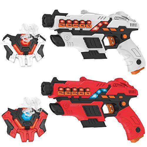 Linksky Laser Tag Set mit Spray, Laser Tag Game Vests Set für Kinder mit 2 Mehrwaffenmodi Spielzeugpistole...