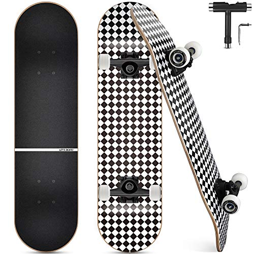 Skateboard, Komplettboard 31 x 8 Zoll Skateboards mit Doppel-Kick, ABEC-9 Kugellager, 7-lagigem Ahornholz...