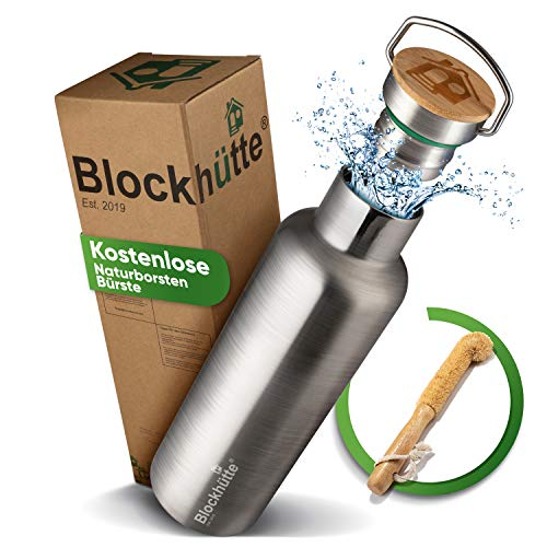Blockhütte. Premium Edelstahl Trinkflasche isoliert mit Naturborsten Bürste I Die Innovative Isolierflasche...