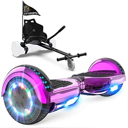 GeekMe Hoverboards mit Sitz, Elektroroller Hoverkart, Elektro Scooter Go-Kart mit Bluetooth-Lautsprecher...