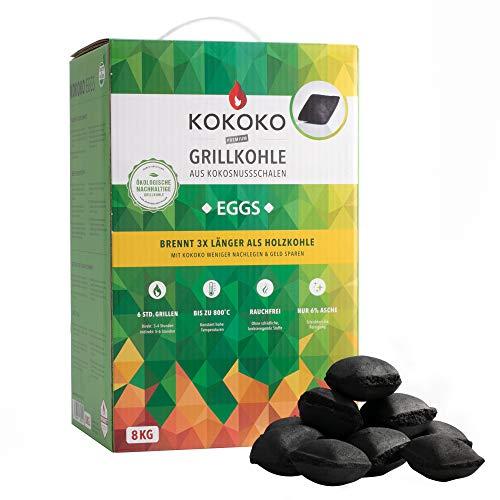 McBrikett KOKOKO EGGS Premium Grillkohle, 8 kg Bio Kokos Grillbriketts
