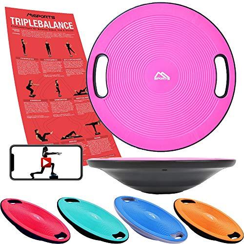 MSPORTS Balance Board Premium 40 cm Durchmesser inkl. Übungsposter und Work Out App GRATIS - Therapiekreisel...