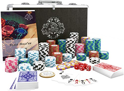 Bullets Playing Cards - Pokerkoffer deluxe Pokerset mit 300 Clay Pokerchips Carmela, Poker-Anleitung, Dealer...