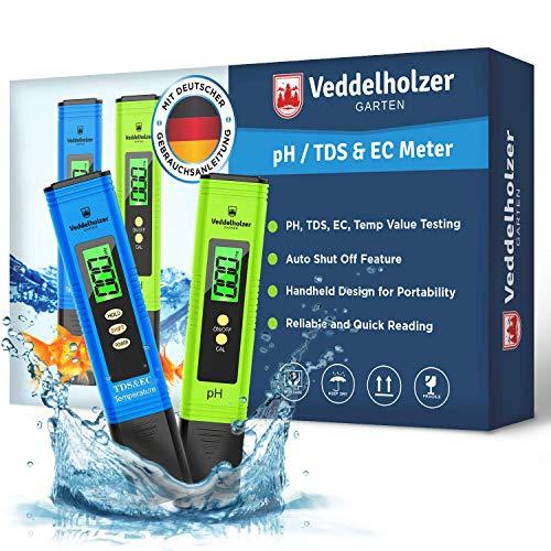 Veddelholzer pH Wert Messgerät pool Thermometer, pH TDS EC und Temperatur 4 in 1 Set, ph Tester(ATC) für...