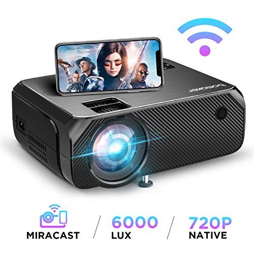 【2020 Upgrade】 WiFi Beamer 6000 Lumen Native 720p Unterstützt 1080P Full HD BOMAKER Wireless Projektor...
