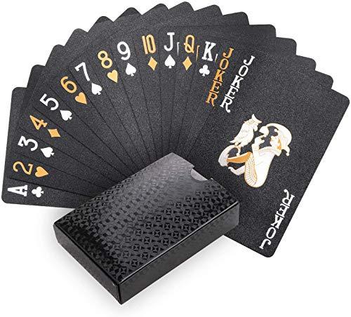 Joyoldelf Schwarzer Spielkarten, 100% Wasserdichtes Pokerkarten Plastik Profi Kartendecks Poker Cards für...