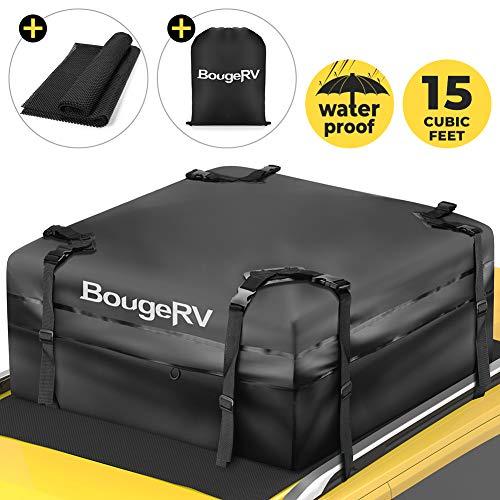 BougeRV Faltbare Dachboxen Dachkoffer mit Ruschefeste Matte,15 Kubikfuß Gepäckbox Dachgepäckträger...