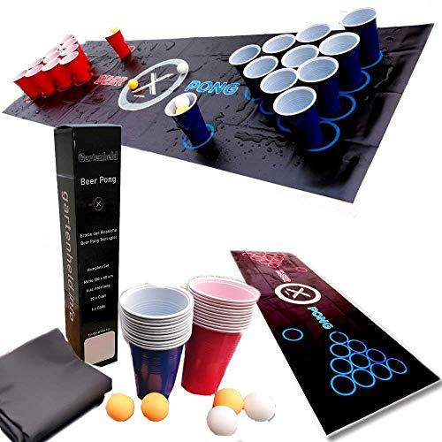 Gartenheld Beer-Pong inkl. 100 x Cups Becher rot / blau Trinkspiel Matte (180 x 60 cm) KOMPLETT-Set , 6 x...