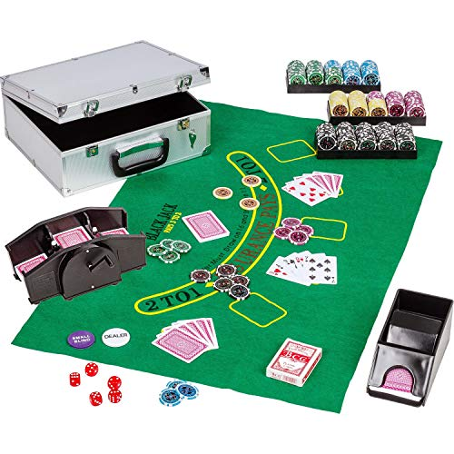 Maxstore Ultimate Pokerset Deluxe, 300er BZW. 600er Edition, 12 Gramm METALLKERN Laserchips, Poker Decks, Alu...