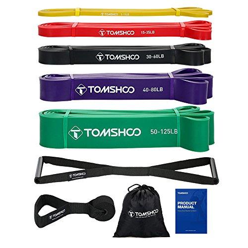 TOMSHOO Fitnessbänder Set, Resistance Bands, Fitnessbänder Widerstandsbänder 100% Naturlatex Gymnastikband...
