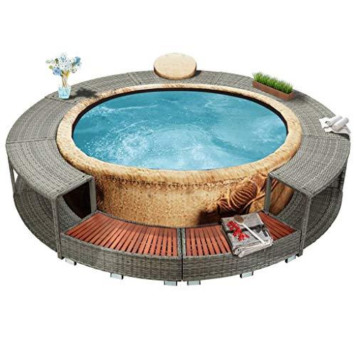vidaXL Whirlpool Umrandung mit Stauraum Rund Poolumrandung Poolverkleidung für Spa Grau Poly Rattan...